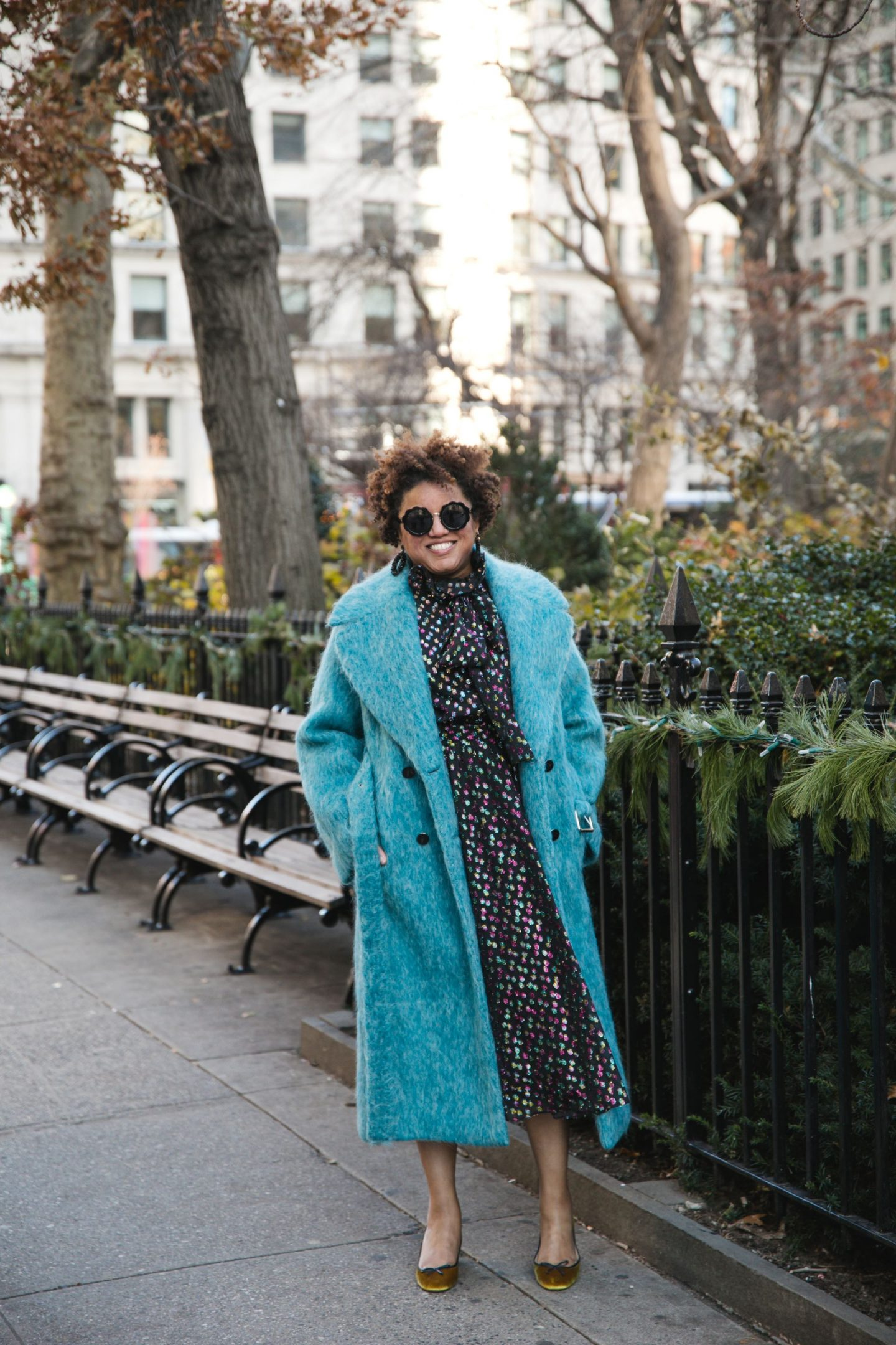 Current Favorites by popular Kentucky fashion blog, Really Rynetta: image of a woman wearing a blue fuzzy coat, gold velvet pumps, and a sequin dress.