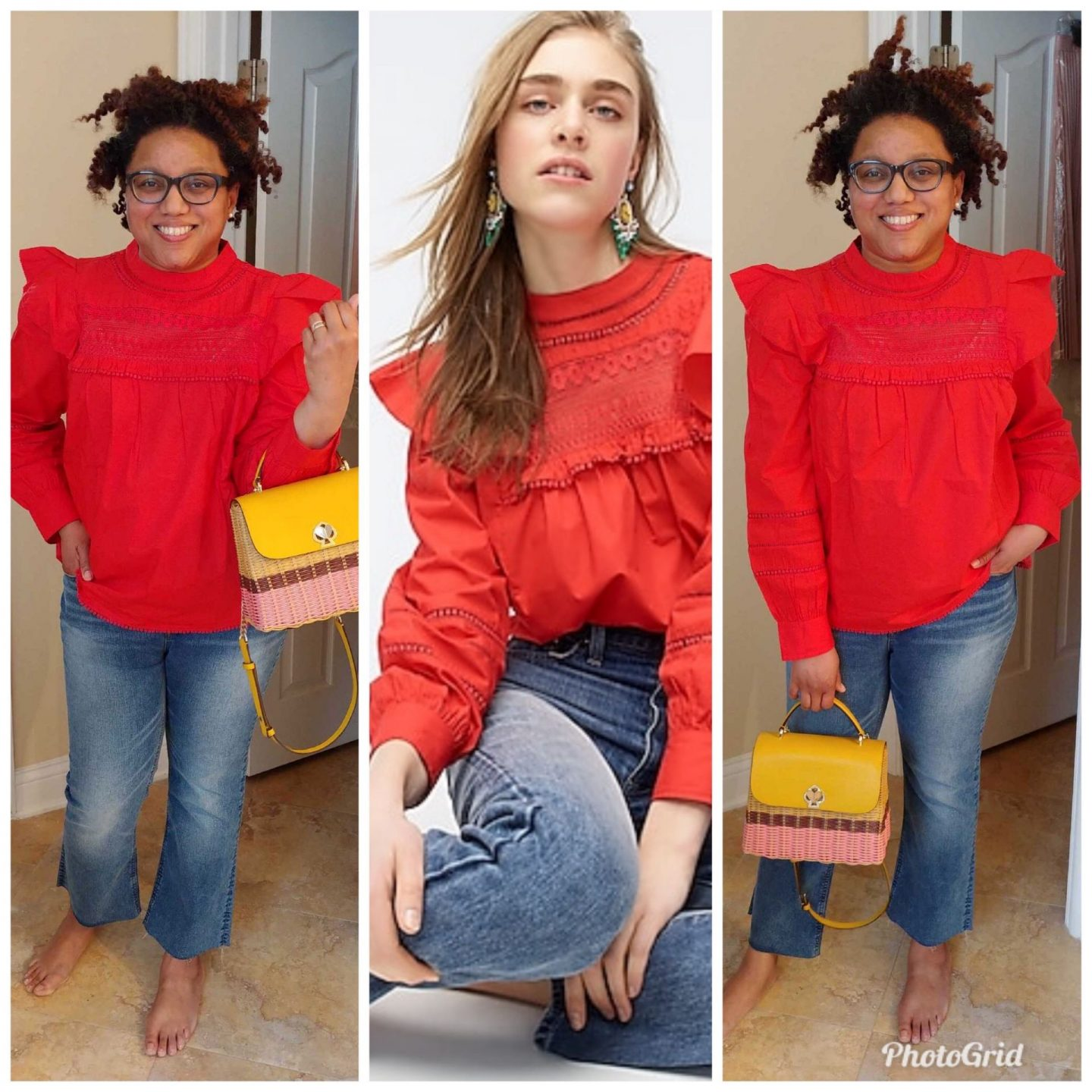 J Crew Crochet Lace Ruffle Top styled by top Kentucky fashion blogger, Really Rynetta