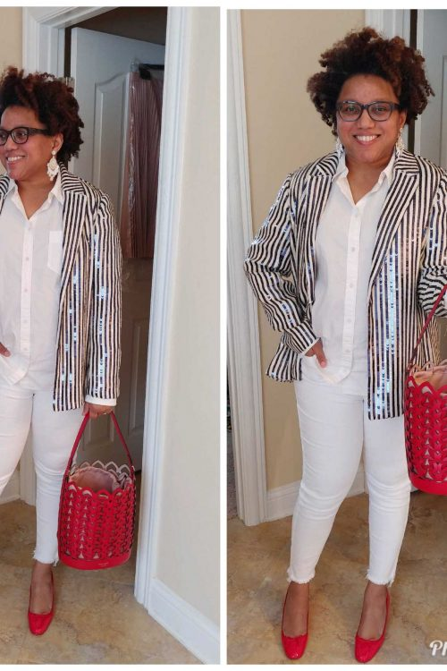 White Jeans and Sequin Blazers!