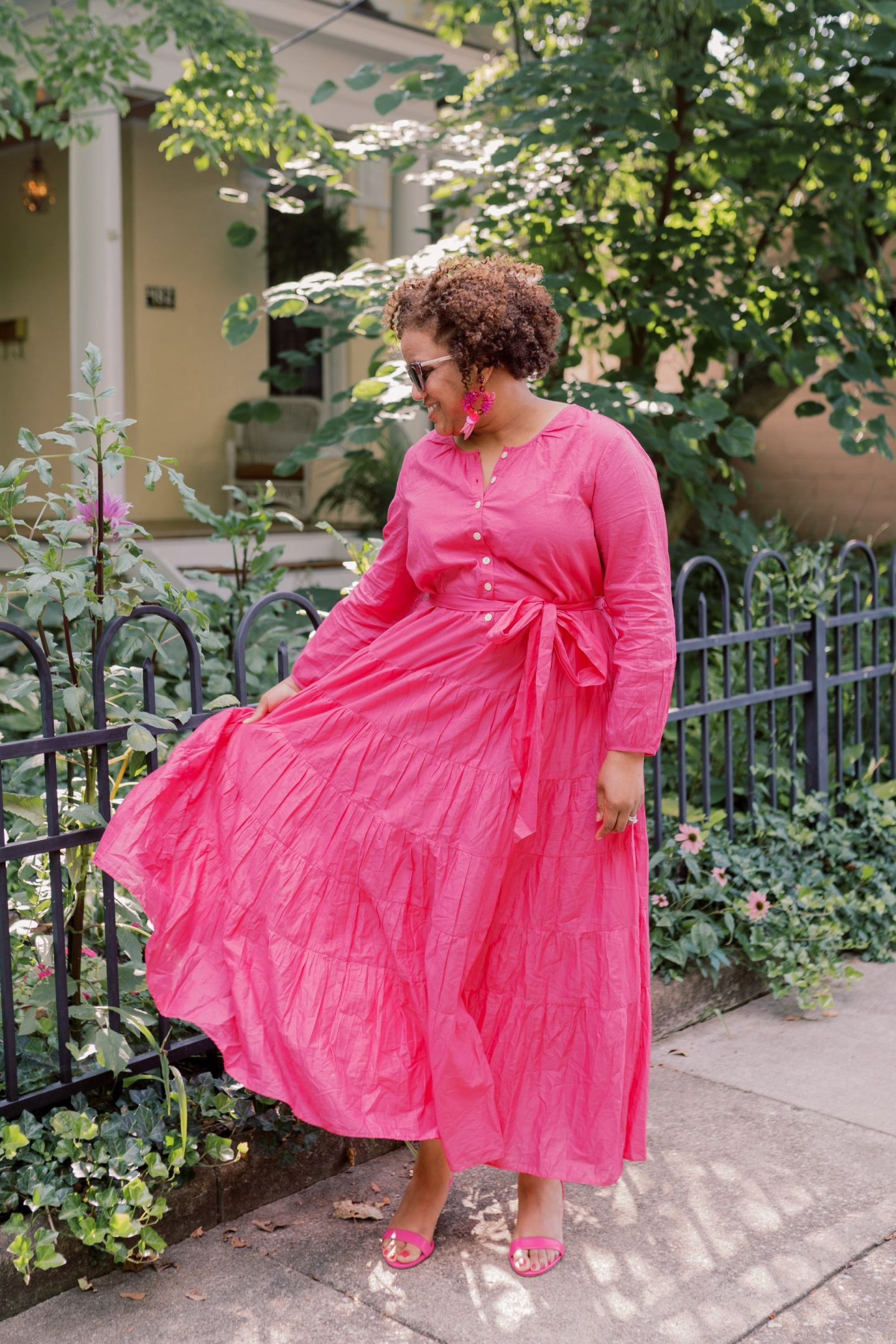 How to Wear a J Crew Maxi Dress for the weekend, tips featured by top KY fashion blogger, Really Rynetta: image of a woman wearing a pink J Crew maxi dress.