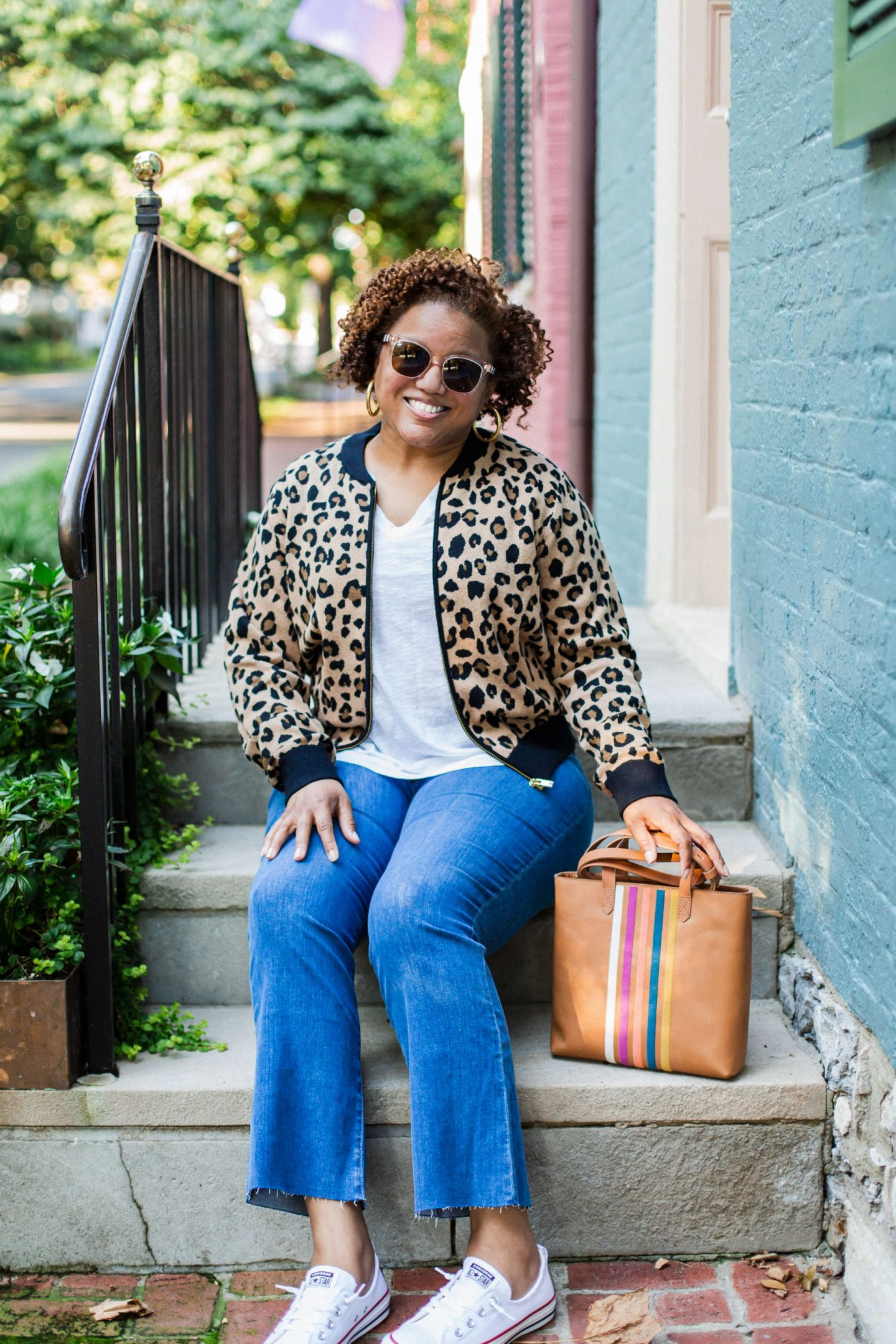 Friday Five by popular Kentucky fashion blog, Really Rynetta: image of a woman wearing a Nordstrom J. Crew Leopard Bomber Sweater Jacket, Nordstrom Madewell Cali High Waist Demi Boot Jeans, white sneakers and Nordstrom Madewell Whisper Cotton V-Neck Pocket Tee