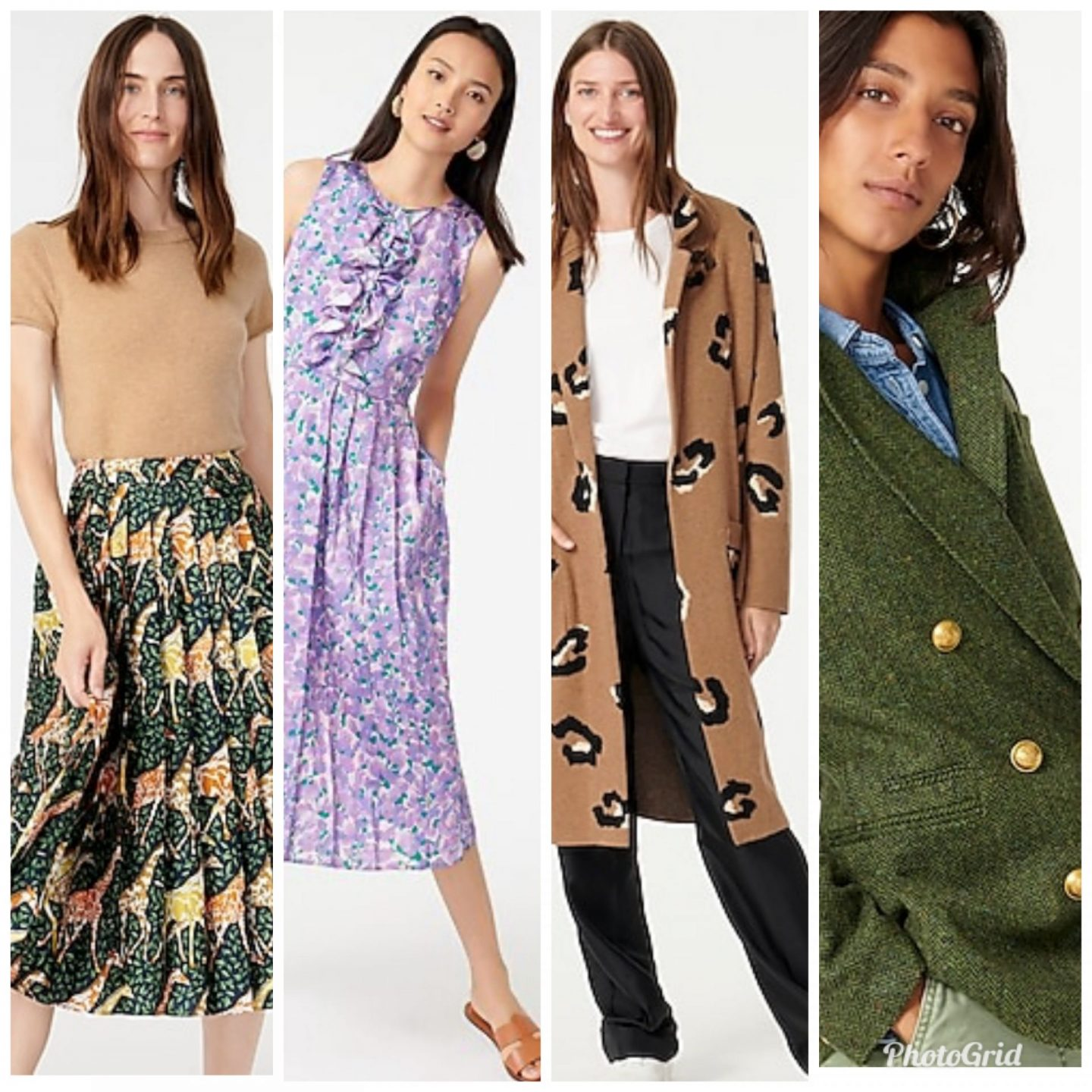 J. Crew Favorites by popular Kentucky fashion blog, Really Rynetta: collage image of a J.Crew Pleated midi skirt in giraffes, J.Crew tweed jacket, J.Crew purple floral dress, and J.Crew cashmere sweater.