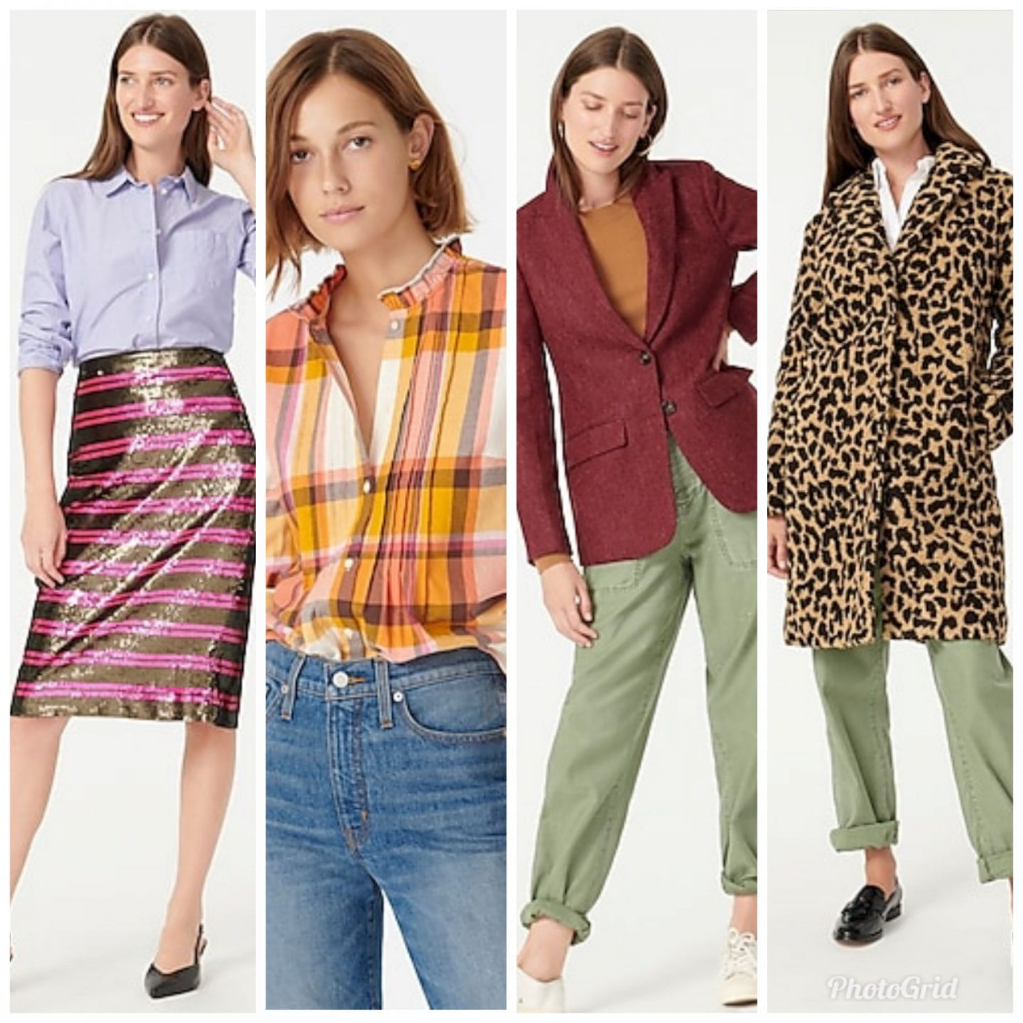 New Arrivals by popular Kentucky fashion blog, Really Rynetta: collage image of a J. Crew sequin skit, J. Crew plaid button down shirt, J. Crew tweed blazer, and J. Crew leopard print overcoat.