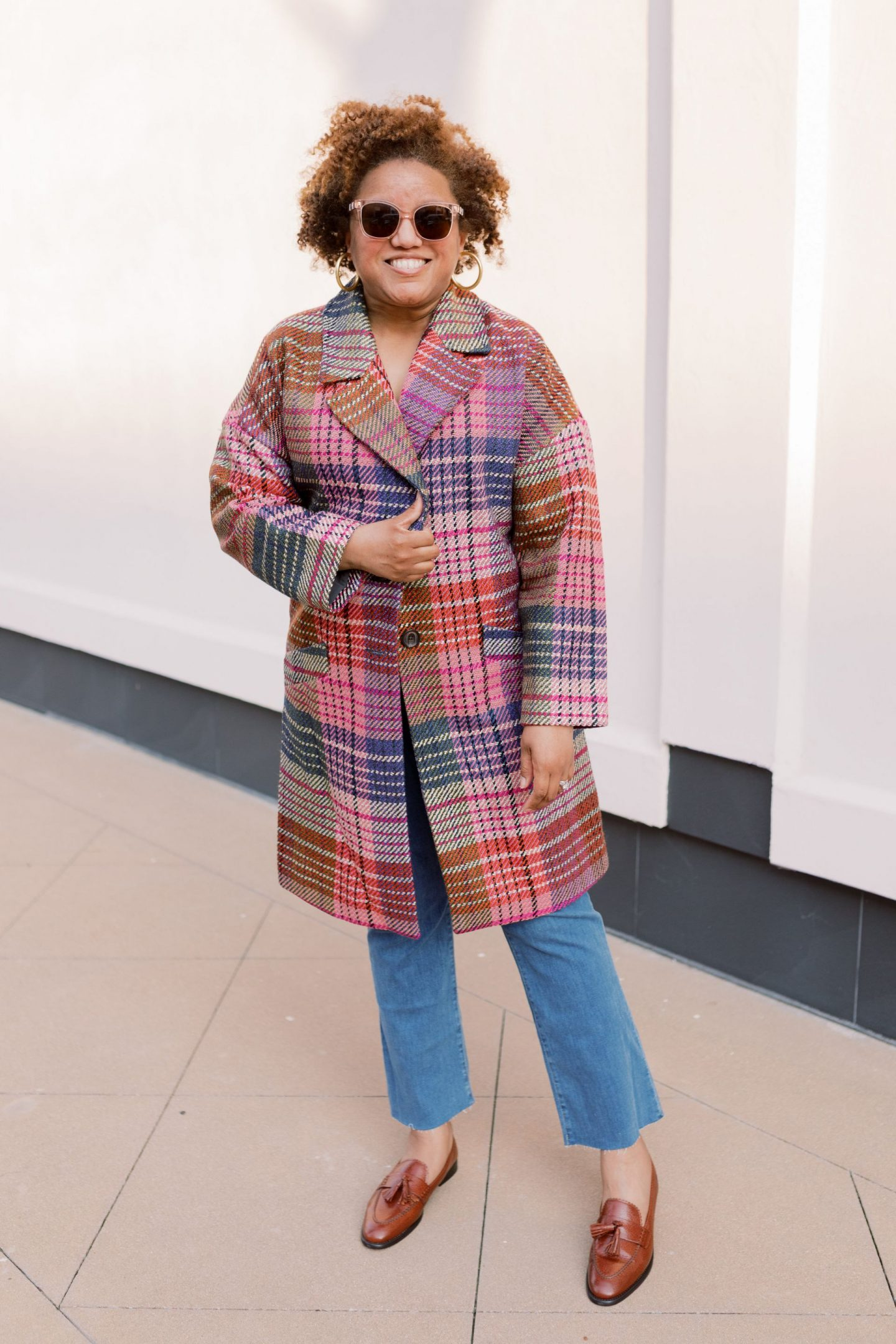 Friday Five by popular Kentucky fashion blog, Really Rynetta: image of a woman standing outside and wearing a Nordstrom Halogen Plaid Tweed Coat, Nordstrom Madewell Cali High Waist Demi Boot Jeans, and J. Crew Academy loafers with tassels.