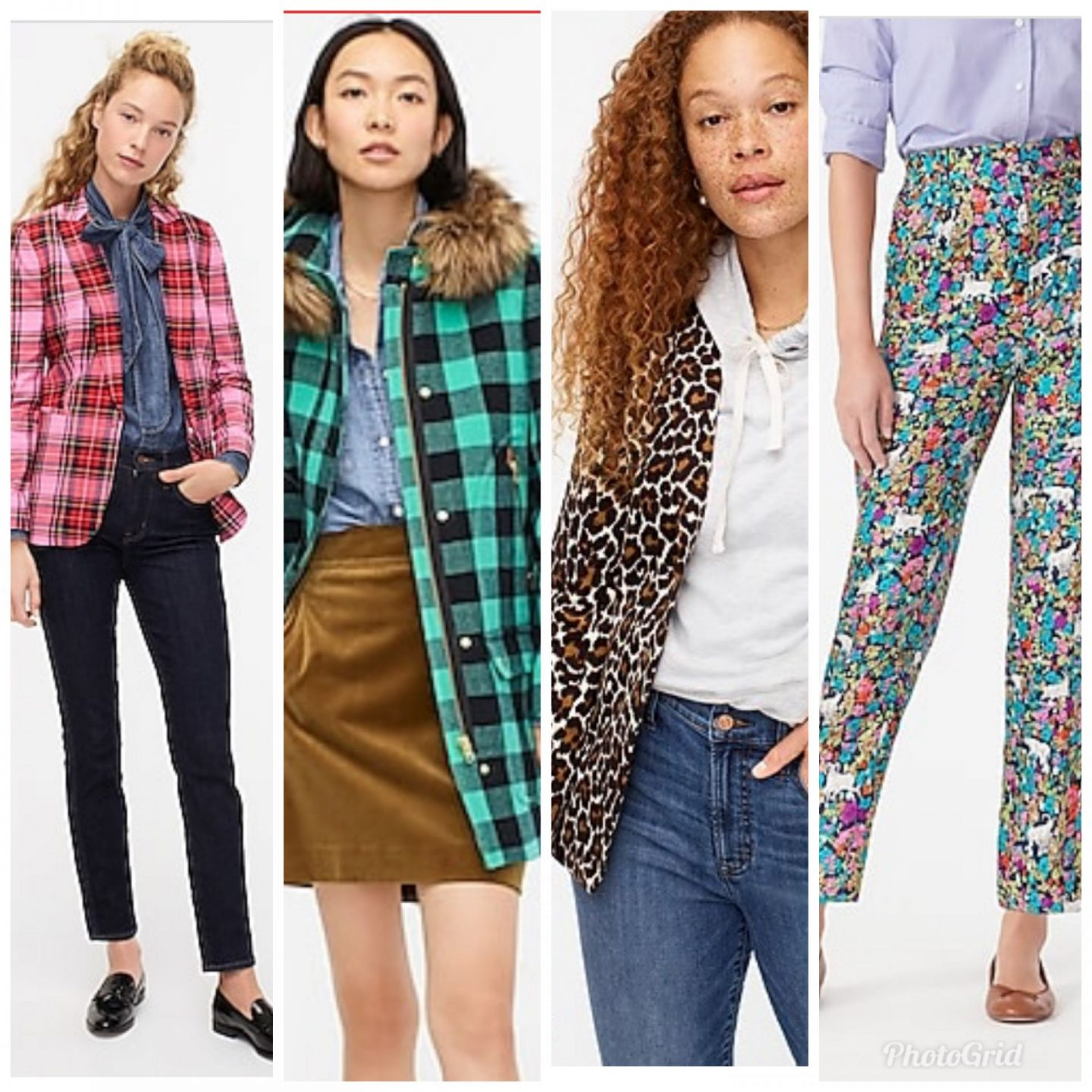 New Arrivals by popular Kentucky fashion blog, Really Rynetta: collage image of a J. Crew pink and red plaid blazer, blue and green buffalo check coat, leopard print jacket, and floral print pants.