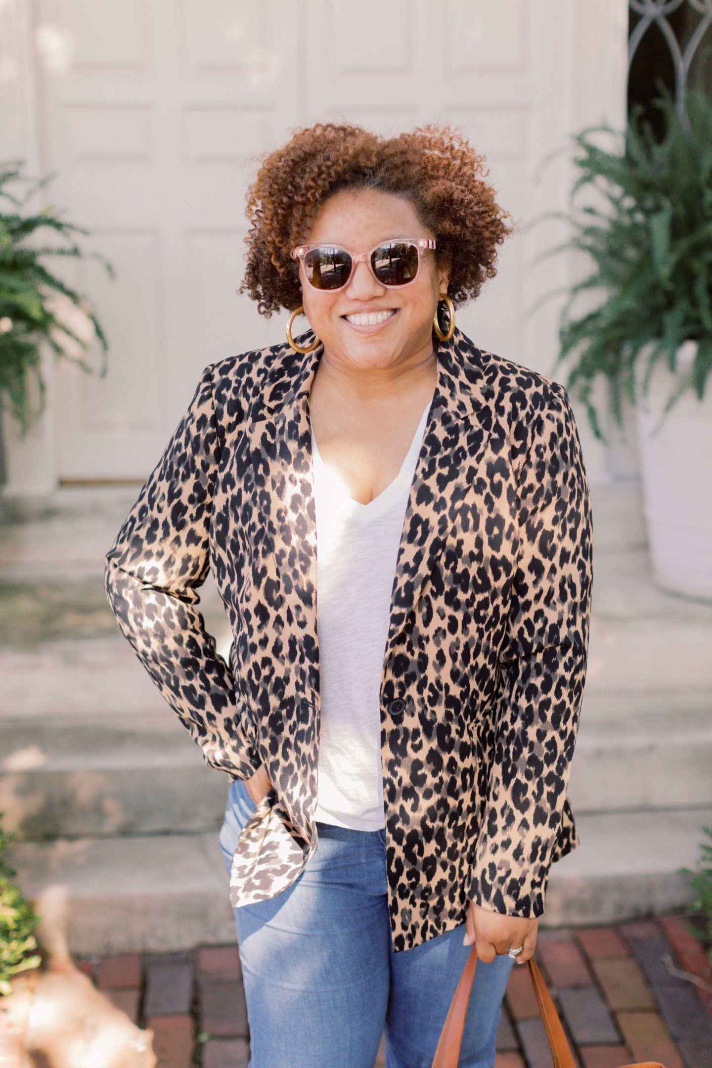 Leopard Print Clothing by popular Kentucky fashion blog, Really Rynetta: image of a woman wearing a Nordstrom One-Button Blazer HALOGEN®, Nordstrom Whisper Cotton V-Neck Pocket Tee MADEWELL, Nordstrom Cali High Waist Demi Boot Jeans MADEWELL, Nordstrom The Transport Stripe Embroidered Zip Top Crossbody Tote MADEWELL, Nordstrom Medium Hoop Earrings MADEWELL, Nordstrom Yulunda Pump MARC FISHER LTD, and Nordstrom rowan loafer KATE SPADE NEW YORK.