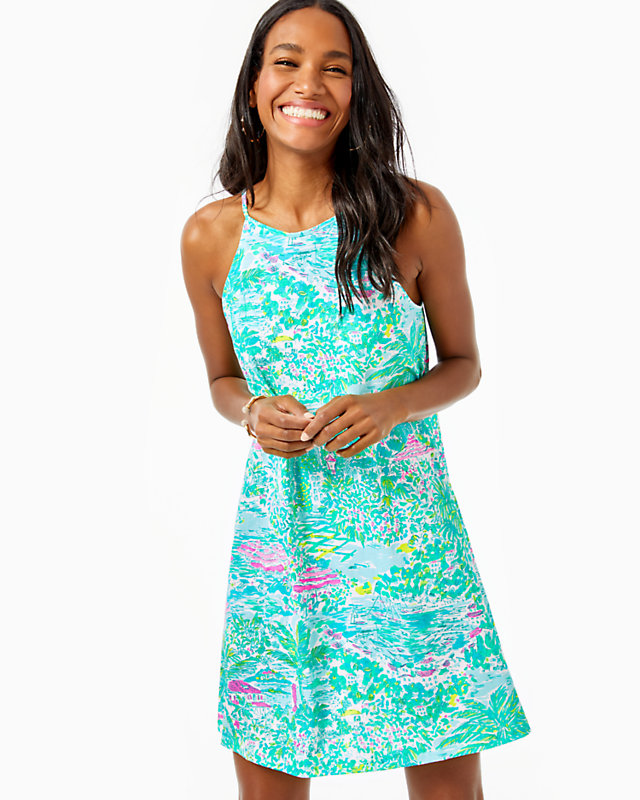 Lilly Pulitzer Sale by popular Kentucky fashion blog, Really Rynetta: image of a woman wearing a Lilly pulitzer halter dress.