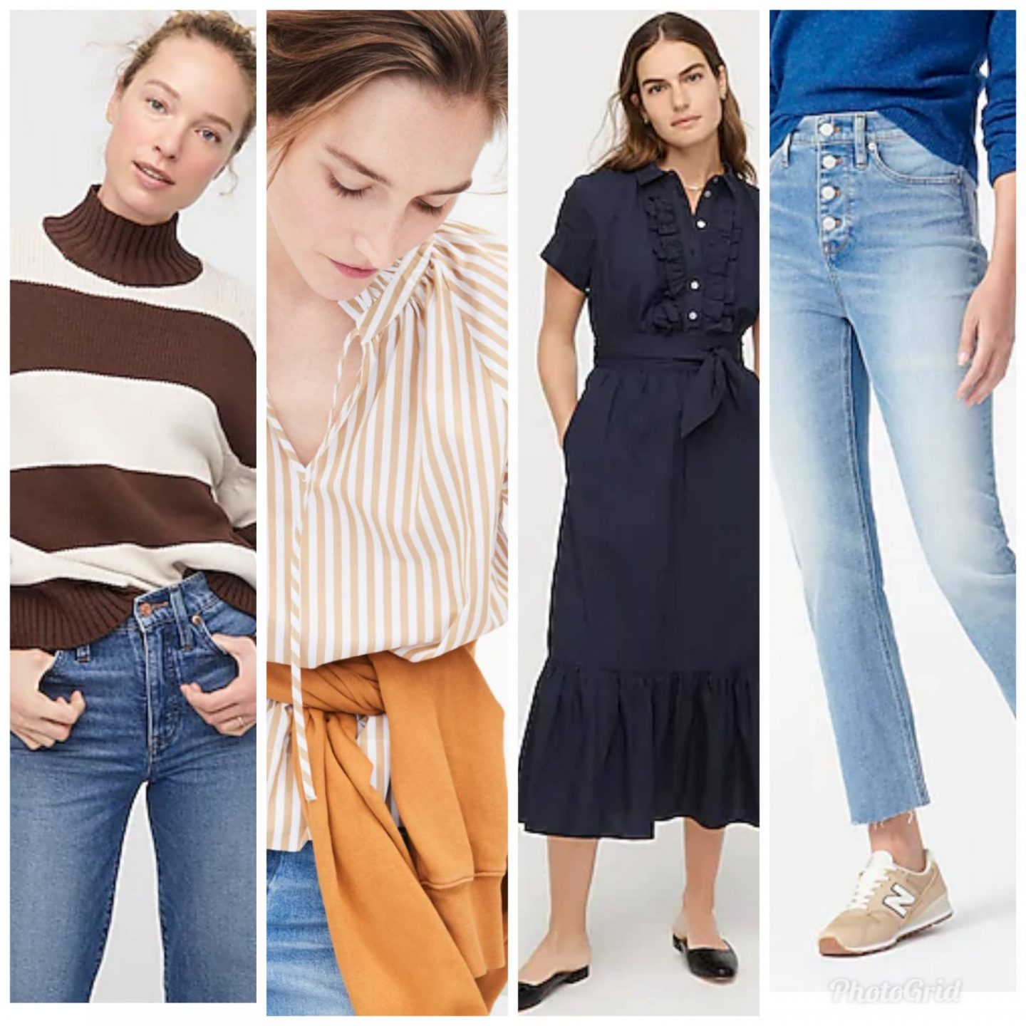 J Crew New Arrivals by popular Kentucky fashion blog, Really Rynetta: collage image of a J Crew brown and white stripe mock neck sweater, J Crew tan and white stripe peasant blouse, J Crew blue ruffle hem maxi dress, and J Crew button up denim.