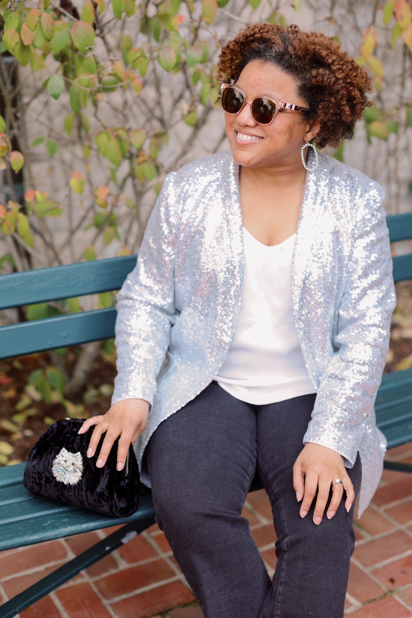 Nordstrom Holiday Looks by popular Kentucky fashion blog, Really Rynetta: image of a woman wearing a Nordstrom sequin blazer, jeans, statement earrings, and white blouse.