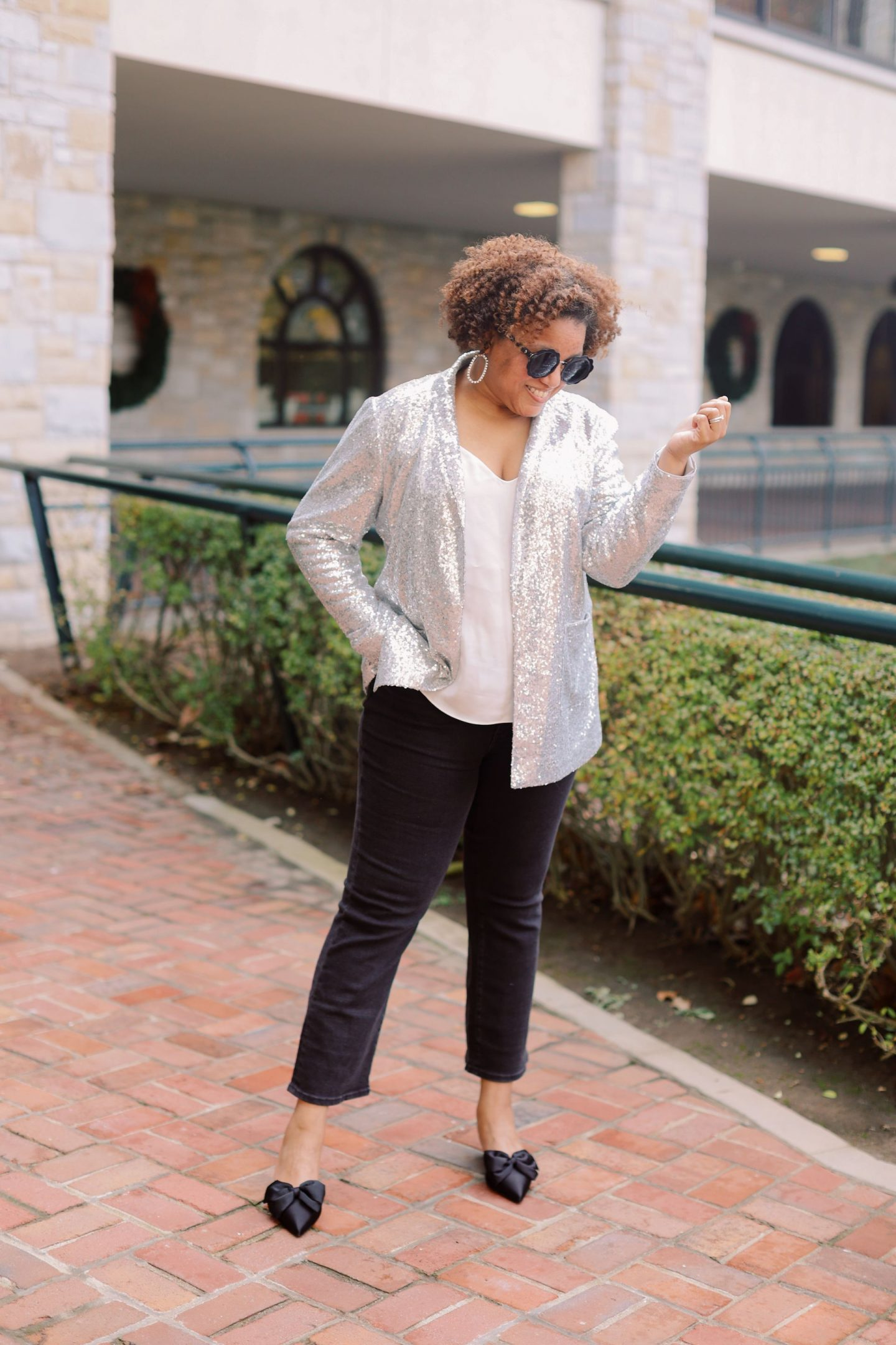 Nordstrom Holiday Looks by popular Kentucky fashion blog, Really Rynetta: image of a woman wearing a Nordstrom sequin blazer, black pants, statement earrings, black point toe flats, and white blouse.
