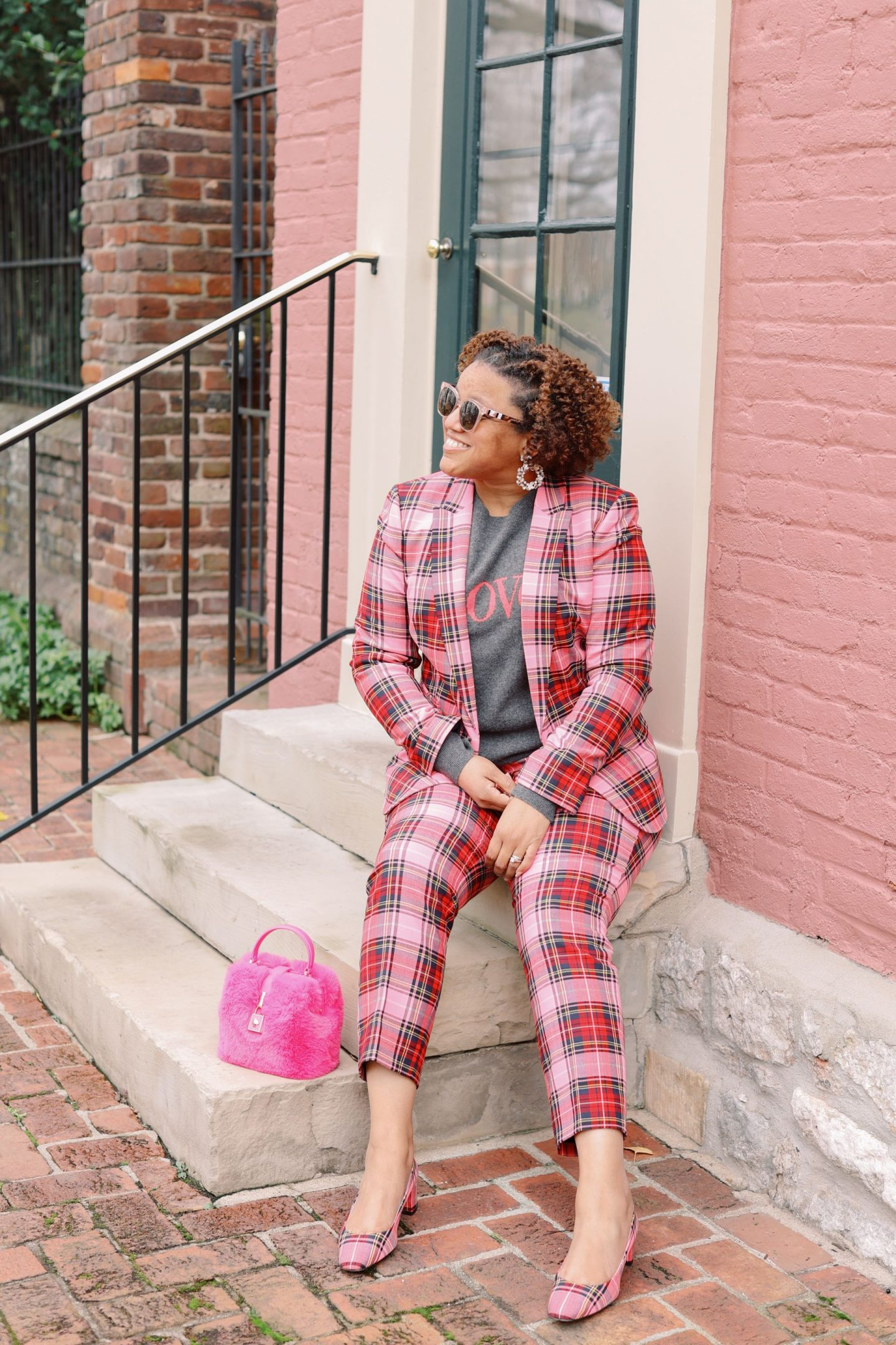 Pink Clothing by popular Kentucky fashion blog, Really Rynetta: image of a woman wearing a J. Crew pink Stewart tartan suit with a grey love sweater.