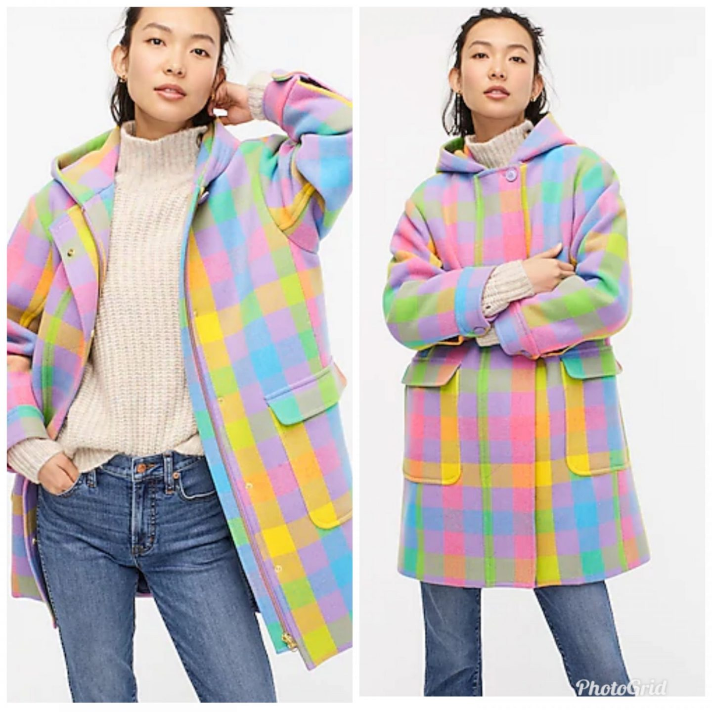 Pink Clothing by popular Kentucky fashion blog, Really Rynetta: image of a woman wearing a plaid pastel color wool coat with a cream mock neck sweater and jeans.