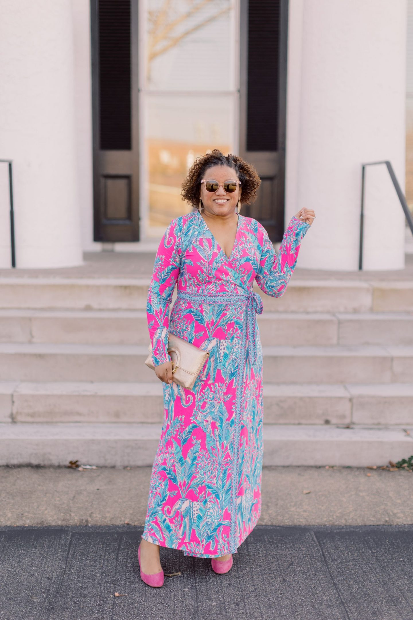 Lilly Pulitzer New Arrivals by popular Kentucky fashion blog, Really Rynetta: image of a woman wearing a Lilly Pulitzer Marseilles wrap dress.
