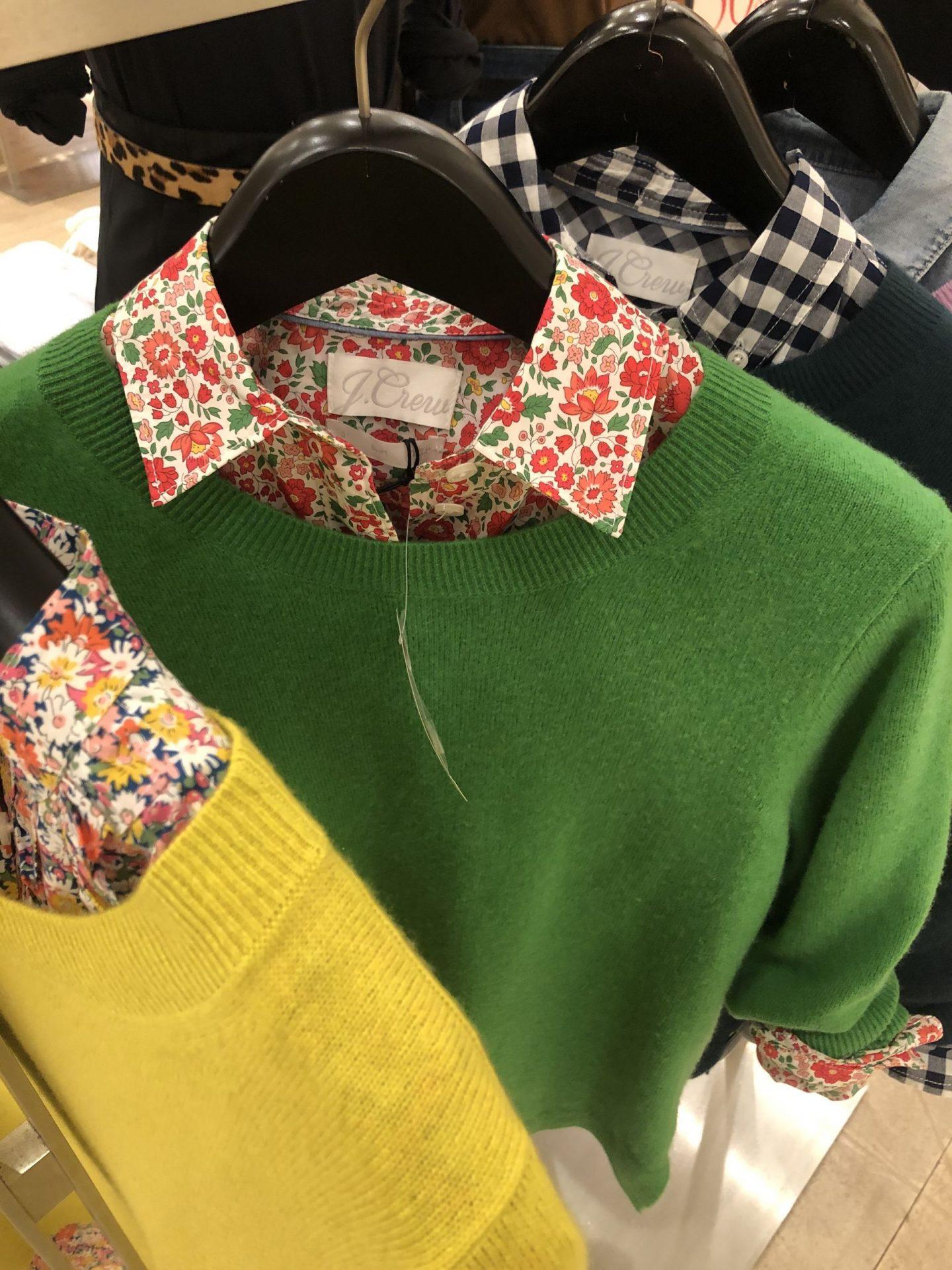 Liberty Prints by popular Kentucky fashion blog, Really Rynetta: image of a J. Crew Liberty button up shirt under a green J. Crew sweater.