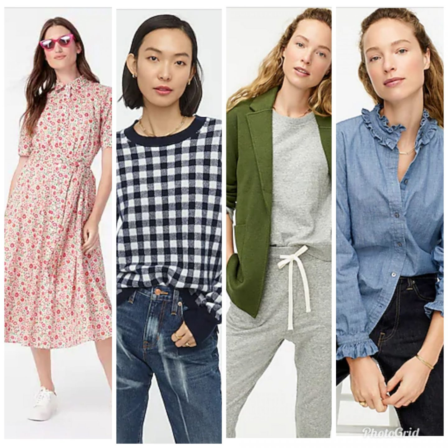 J. Crew New Arrivals by popular Kentucky fashion blog, Really Rynetta: collage image of a J.Crew floral print dress, long sleeve blue gingham top, green jacket, and ruffle neck denim top.