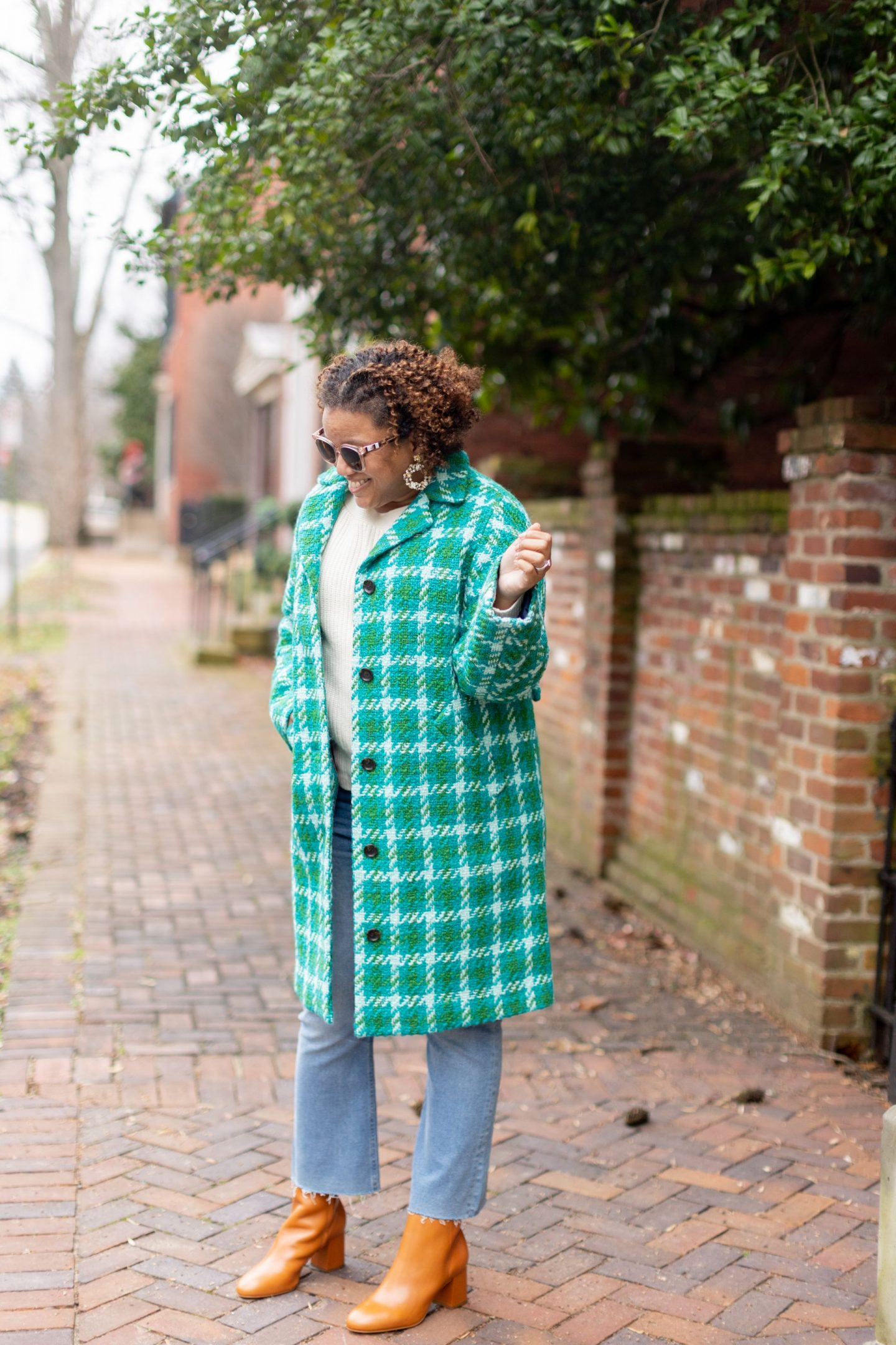 J Crew Coat by popular Kentucky fashion blog, Really Rynetta: image of a woman wearing a J Crew Car Coat in Houndstooth.