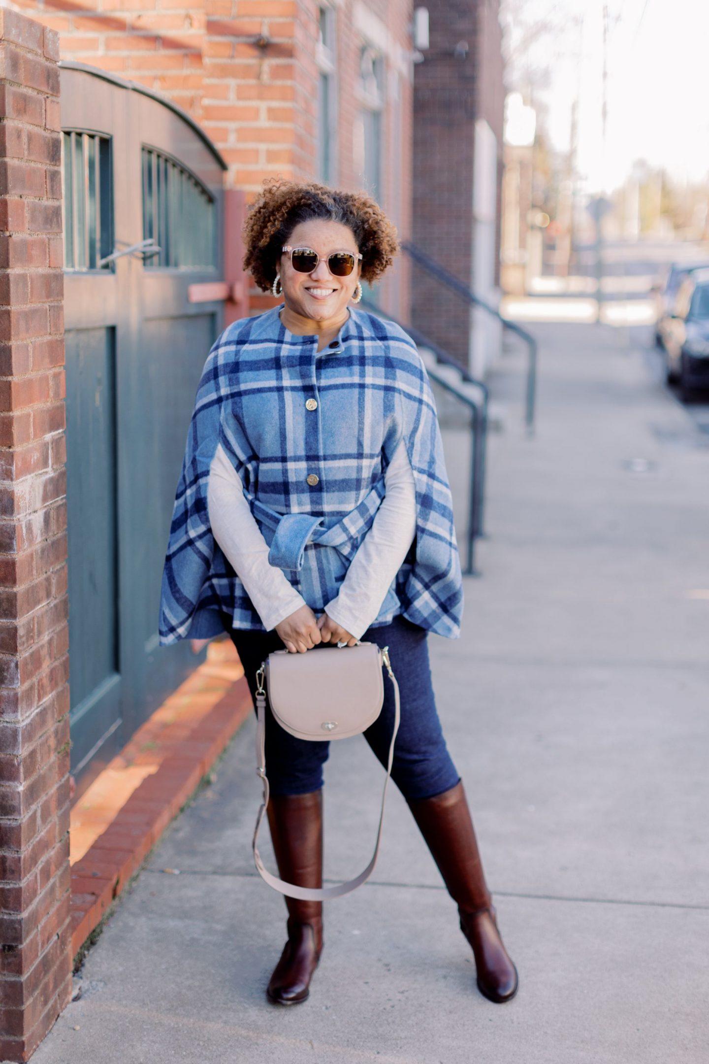 Buffalo Plaid Cape by popular Kentucky fashion blog, Really Rynetta: image of a woman wearing a Draper James buffalo plaid cape, white long sleeve t-shirt, and skinny jeans.