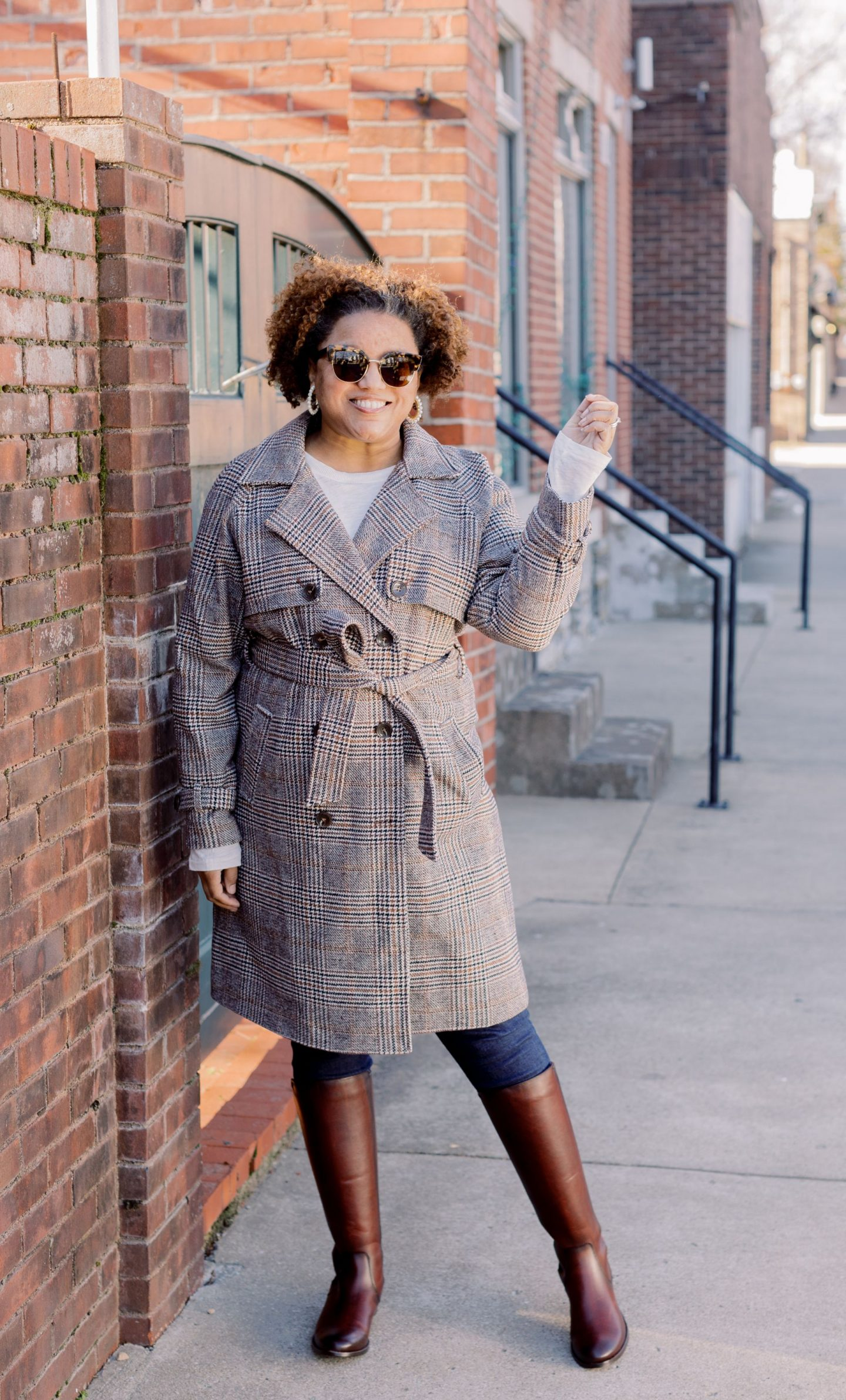 Plaid Trench Coat by popular Kentucky fashion blog, Really Rynetta: image of a woman wearing a Halogen plaid trench coat, dark wash skinny jeans, and brown knee high riding boots.