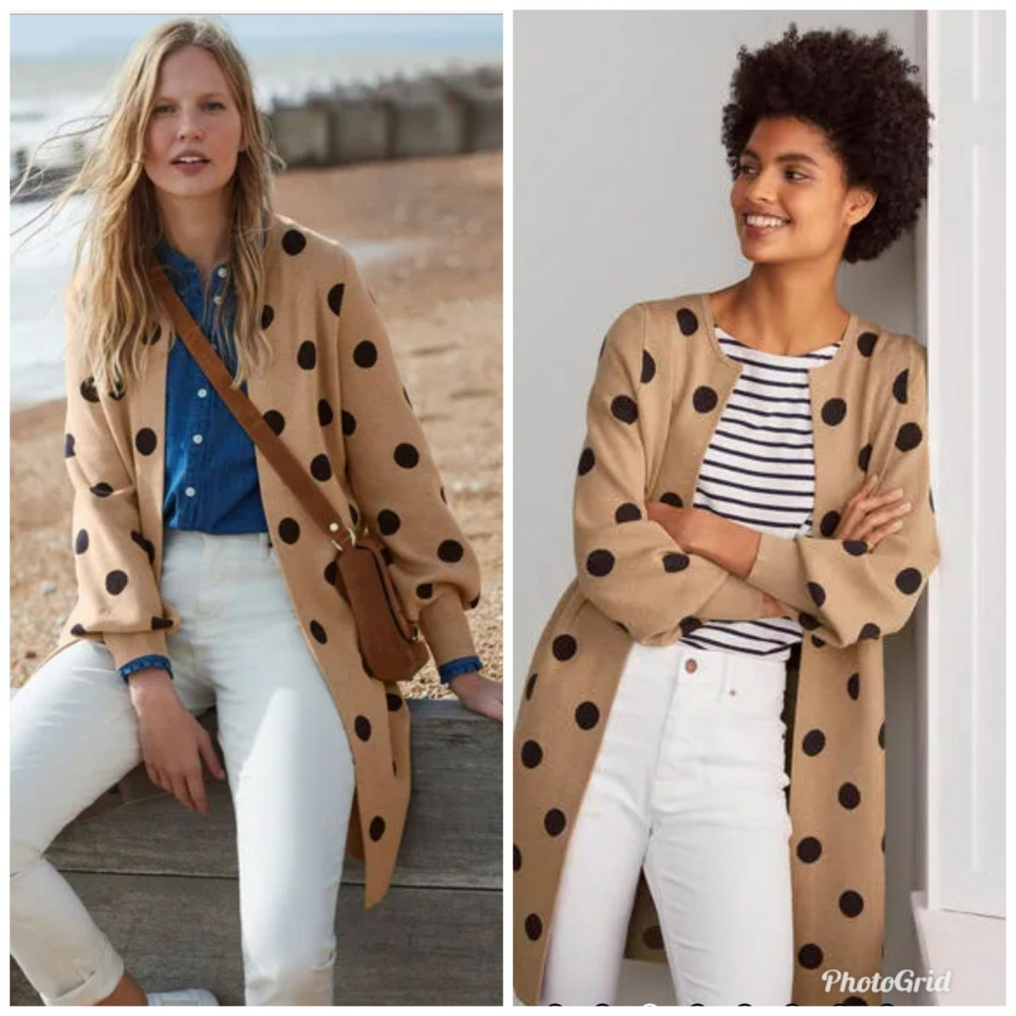 Current Favorites by popular Kentucky fashion blog, Really Rynetta: collage image of two women wearing a tan and black polka dot sweater.