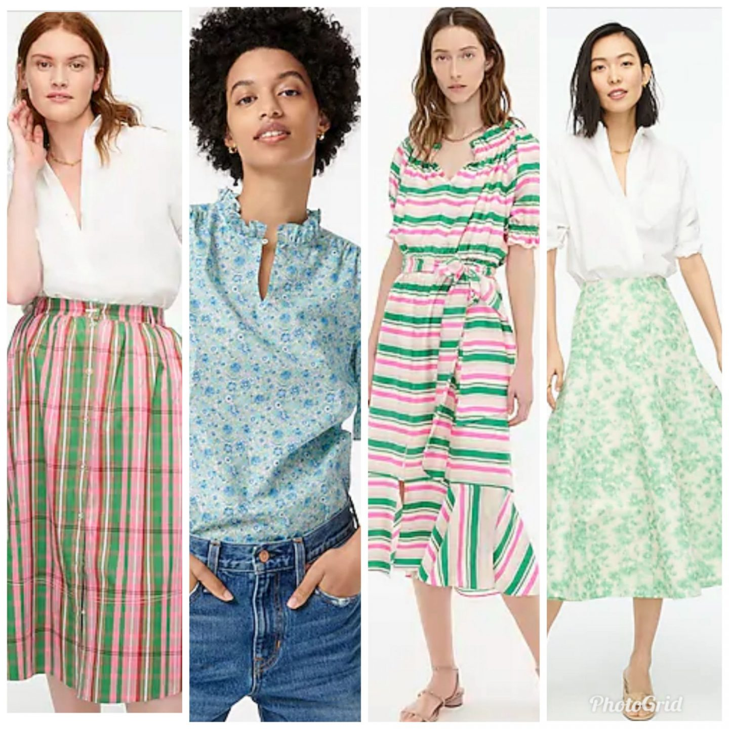 J. Crew New Arrivals by popular Kentucky fashion blog, Really Rynetta: collage image of J. Crew pink tartan skirt, blue floral print ruffle neck shirt, pink and green stripe dress, and green floral print skirt.