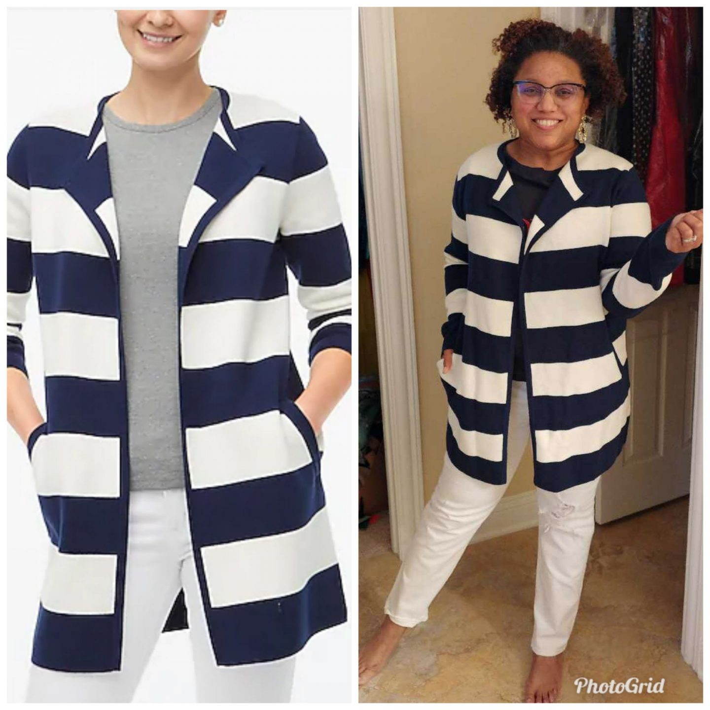Striped Sweater Blazer by popular Kentucky fashion blog, Really Rynetta: collage image of a woman wearing a blue and white striped sweater blazer and white jeans.