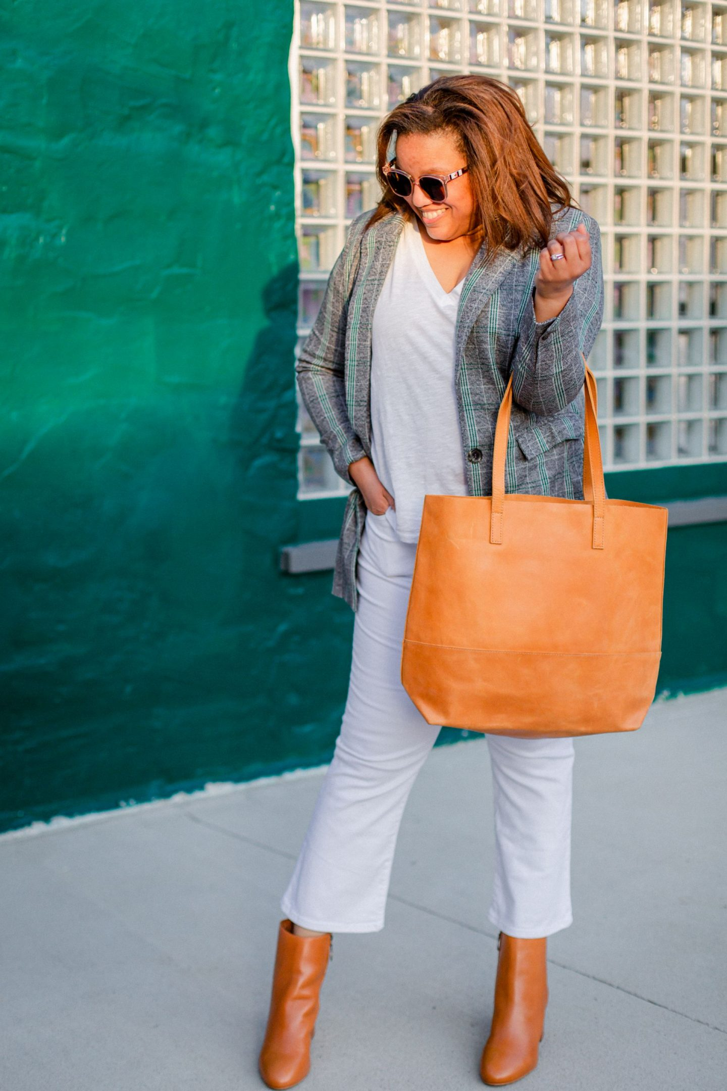 Able Clothing by popular Kentucky fashion blog, Really Rynetta: image of a woman wearing a plaid Able blazer, white t-shirt, white crop flare leg pants, brown ankle boots, and brown tote.
